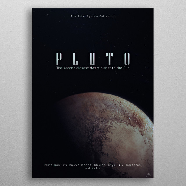 "Pluto, a part of ""The Solar System Collection"". metal poster"