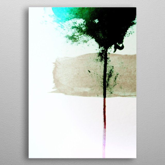 Acrylic on Paper painted by hand. A tree stands alone. metal poster