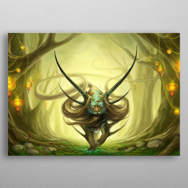 Illustration of a godly tiger in an enchanted forest. metal poster