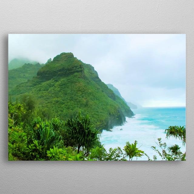 Kalalau trail, Kauai, Hawaii, USA with green mountain and blue ocean view metal poster