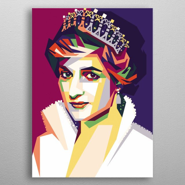 Diana, Princess of Wales (born Diana Frances Spencer), was a member of the British royal family. She was the first wife of Charles,  metal poster