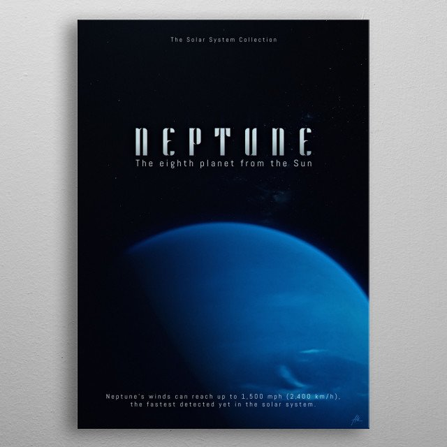 """Neptune, a part of """"The Solar System Collection"""". metal poster"""