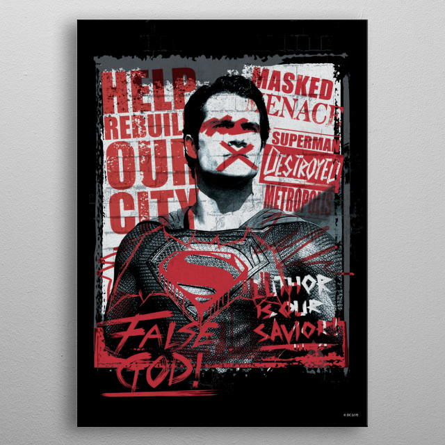 Superman wanted metal poster