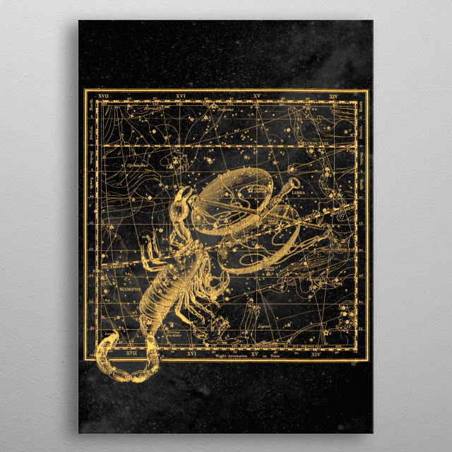 Scorpio Constellation, Astronomy, Astrology, Zodiac, Vintage Engraving Map metal poster