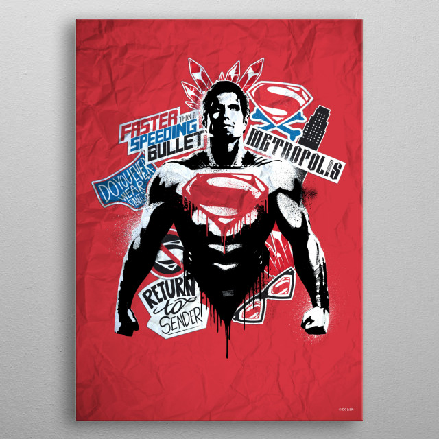 Supes red metal poster