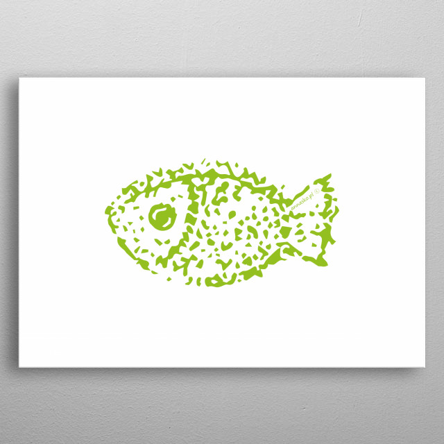 Fish illustration, drawing, design. All rights reserved. metal poster