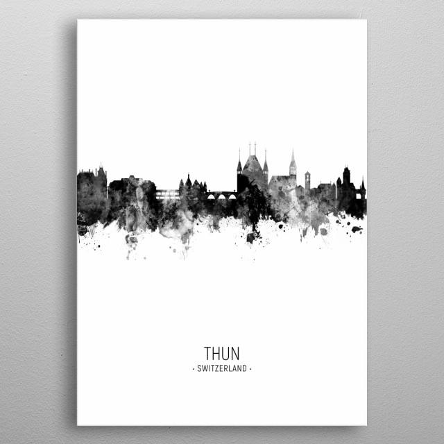 Watercolor art print of the skyline of Thun, Switzerland metal poster