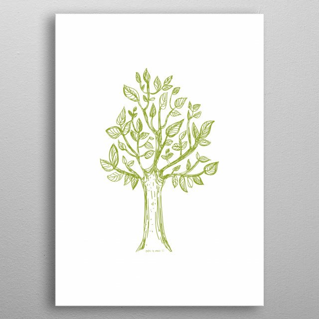 Decorative illustration of a tree, botanical drawing, pretty design for home. All rights reserved metal poster