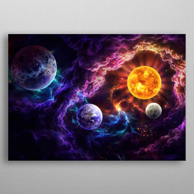Illustration of a galactic scene depicting God's Plan of Salvation. metal poster