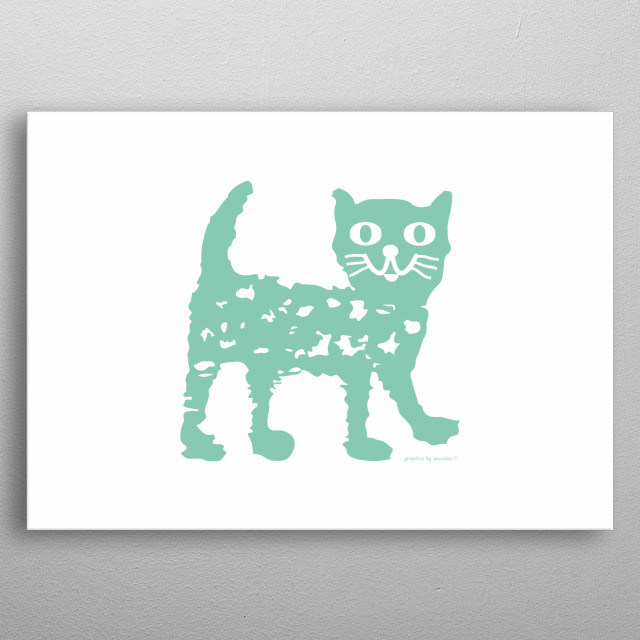 Cute illustration, funny drawing of a cat in mint colour, modern design for kid's room. All rights reserved. metal poster