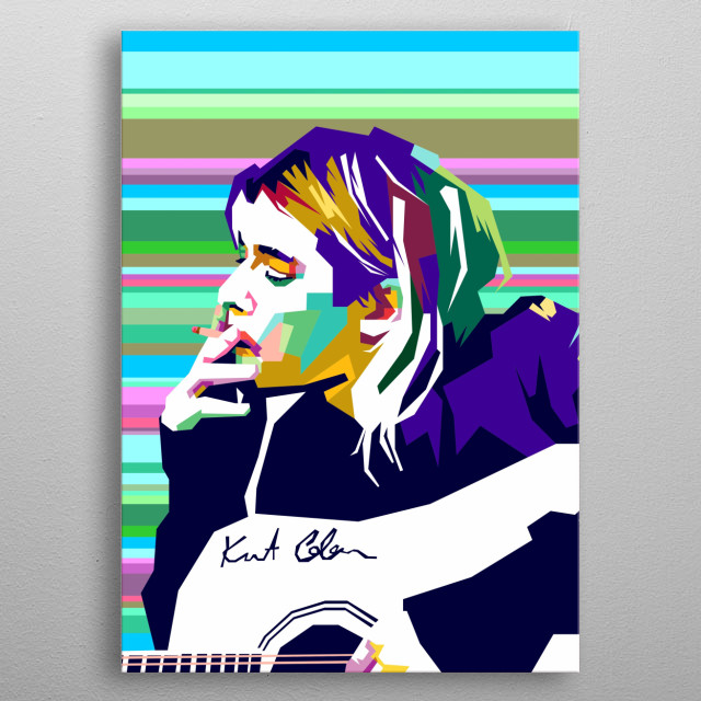 Design Illustration Of Kurt Cobain in WPAP Style metal poster