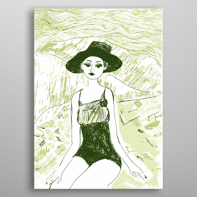 Girl illustration, sketch, decorative drawing. All rights reserved. metal poster