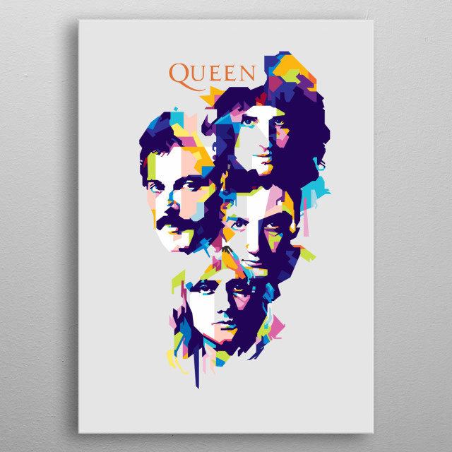 Queen are a British rock band that formed in London in 1970. classic line-up was Freddie Mercury Brian May Roger Taylor and John Deacon metal poster