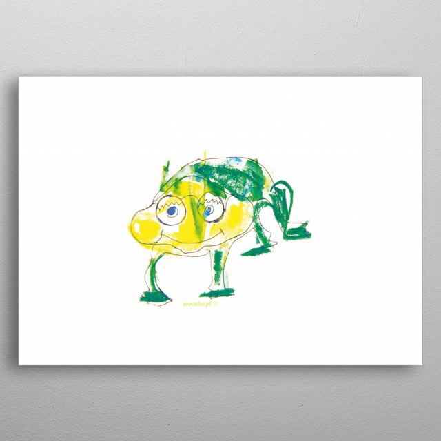 Funny illustration of green frog. Cute design for kid's room. metal poster