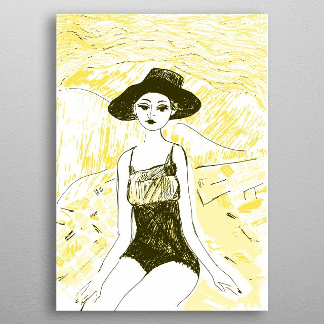 Ilkustration of the girl sitting on th beach. All rights reserved. metal poster