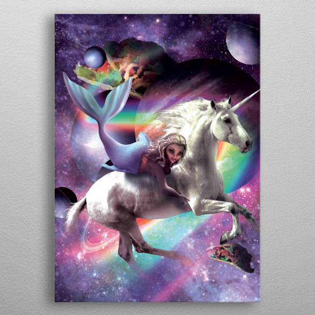 Pick up this crazy galaxy mermaid on a flying unicorn design. metal poster