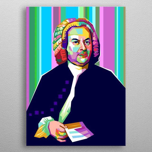 Johann Sebastian Bach Design Illustration in WPAP Style metal poster
