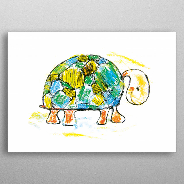 Funny picture of a turtle, nice illustration for kid's room. All rights reserved. metal poster