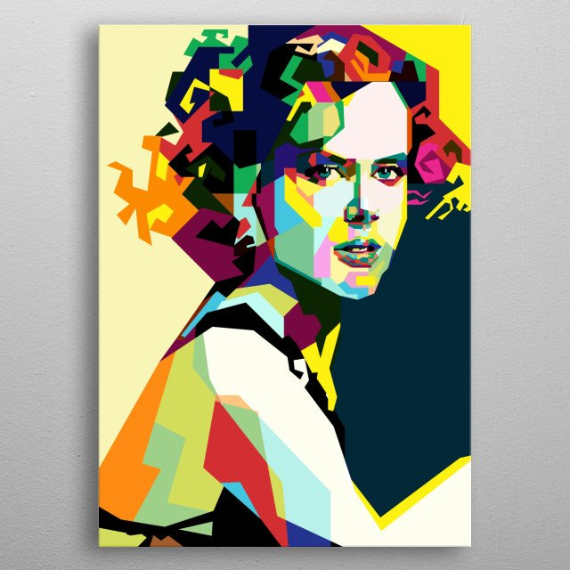 The Most Popular Clebirities Hollywood actress Nicole Kidman in WPAP pop art style digital artwork metal poster