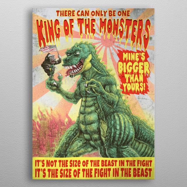 Strange Beast Battle for King of the Monsters. Behemoth Kaiju Represents Japan vs Gigantic Gorilla Representing USA. Original Art by Mudge. metal poster