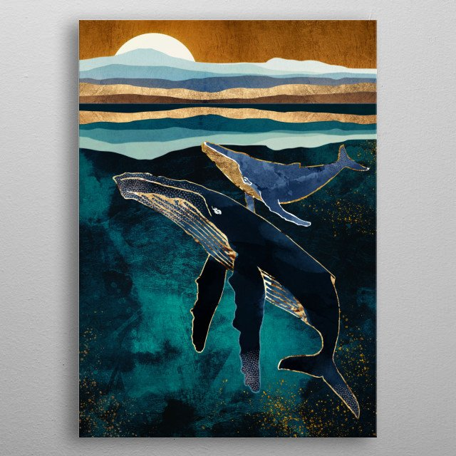 Abstract depiction of whales swimming in the moon light with copper, blue and gold metal poster