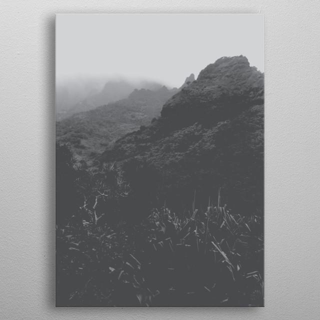 Kalalau trail, Kauai, Hawaii, USA in black and white metal poster
