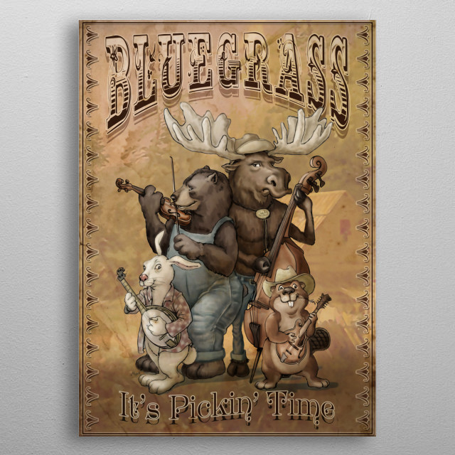 Vintage Style Appalachian Bluegrass Critter Music Poster Featuring Bear, Moose, Rabbit and Beaver Pickin' Away on Bluegrass Instruments. metal poster