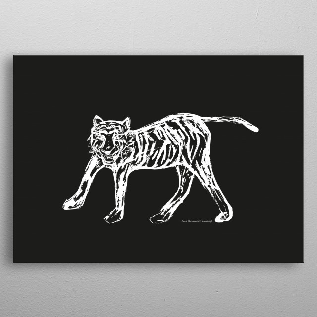 Tiger illustration in black and white, modern and minimalistic design. All righst reserved. metal poster