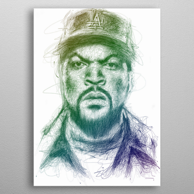 Portrait ice cube on scribble contemporary art. metal poster