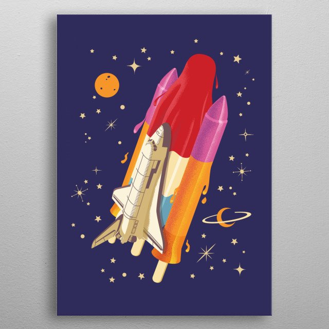 Popsicle mission to the moon. A collaborative artwork with Nasir Udin aka vectro metal poster