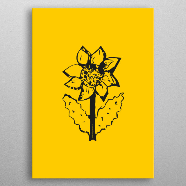 Black and yellow drawing of a sunflower, modern design, minimalistic picture. All rights reserved. metal poster