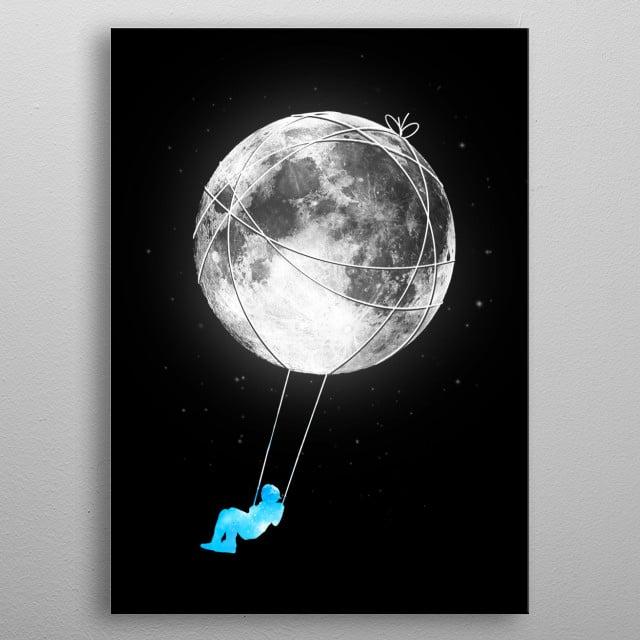 Moon swinging. metal poster