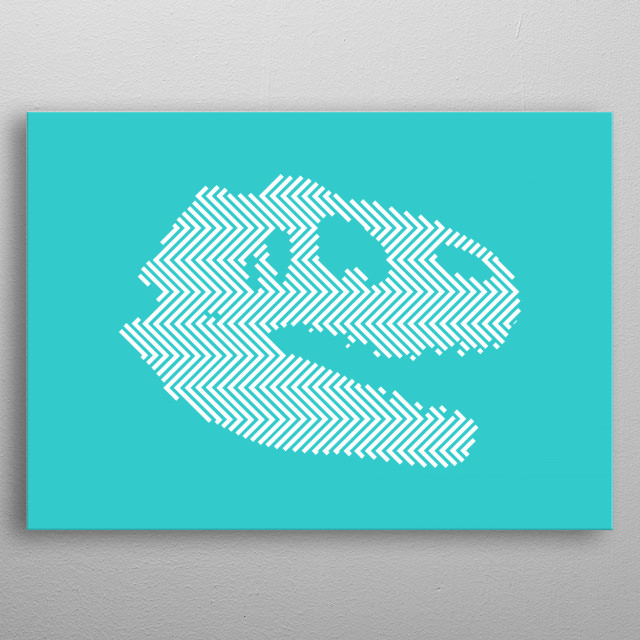 This design is based on Sue's skull. Sue is the largest, most extensive and best preserved Tyrannosaurus Rex specimen ever found. metal poster