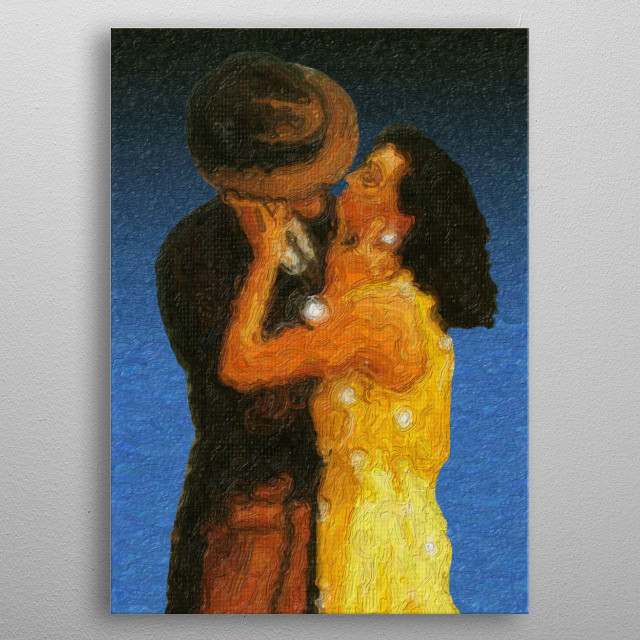 An illustration of a man and a woman in a yellow dress kissing. metal poster