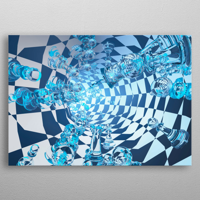 Symbolic composition. Tunnel with chessmen metal poster
