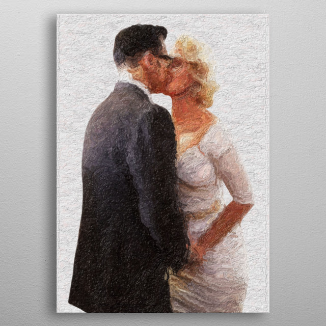 An illustration of a man and a woman in a white dress.  metal poster