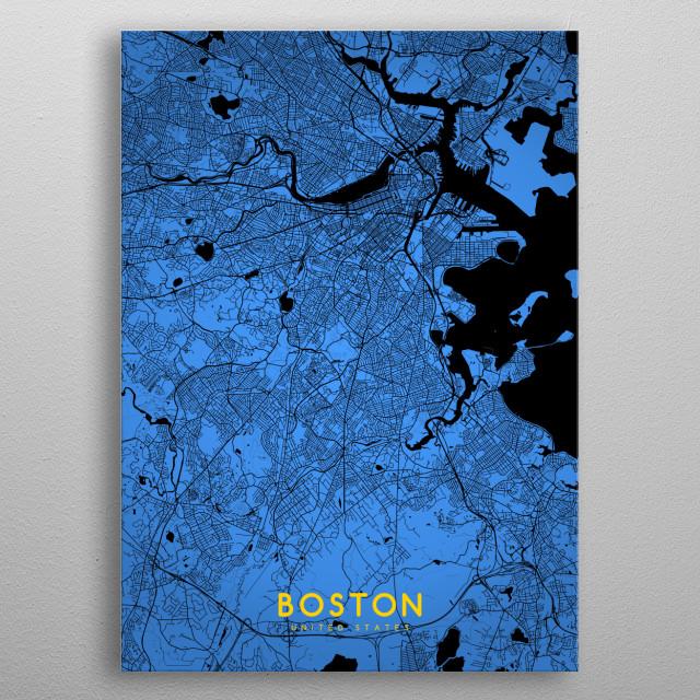 Boston map metal poster