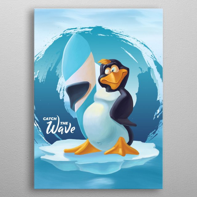 Catch the wave cool penguin metal poster