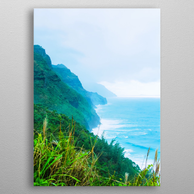 green mountain with blue ocean view at Kalalau trail, Kauai, Hawaii, USA metal poster