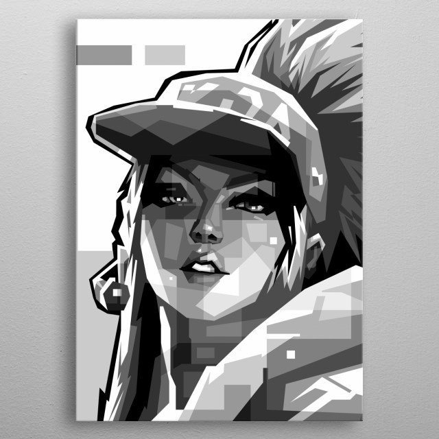 Anime Girl GRAYSCALE, Black and White Style metal poster