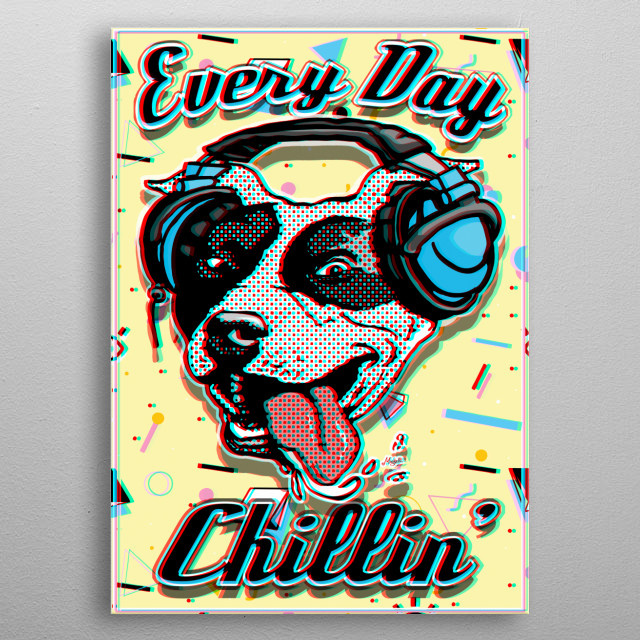 Vintage 90s Style Metal Poster featuring Pit Bull with Music Headphones and Tongue Waggin in Retro Glitch Technique. metal poster