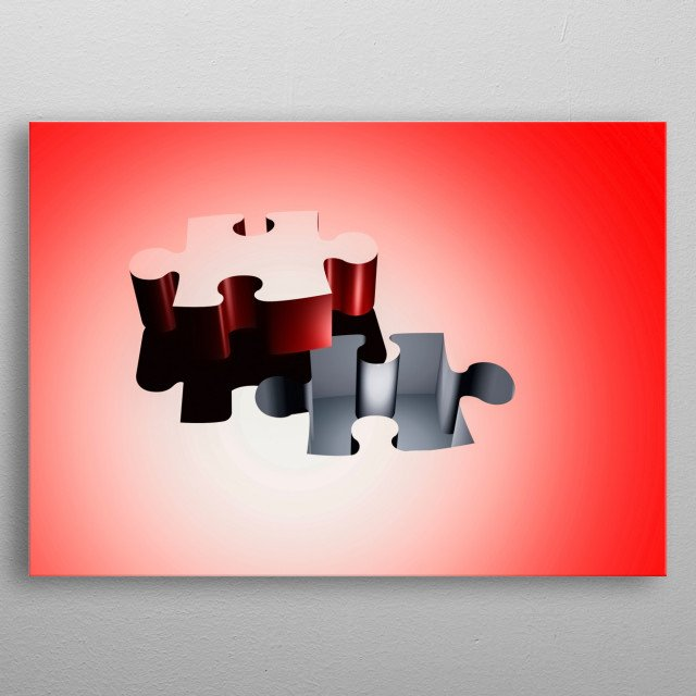 Puzzle piece 3D composition metal poster