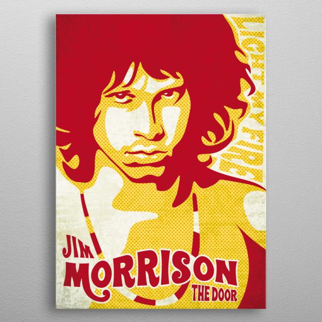 vintage poster design of the door jim morrison, an American singer, songwriter and poet,  metal poster