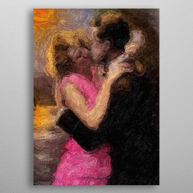 An illustration of a man and a woman in a pink dress kissing. metal poster