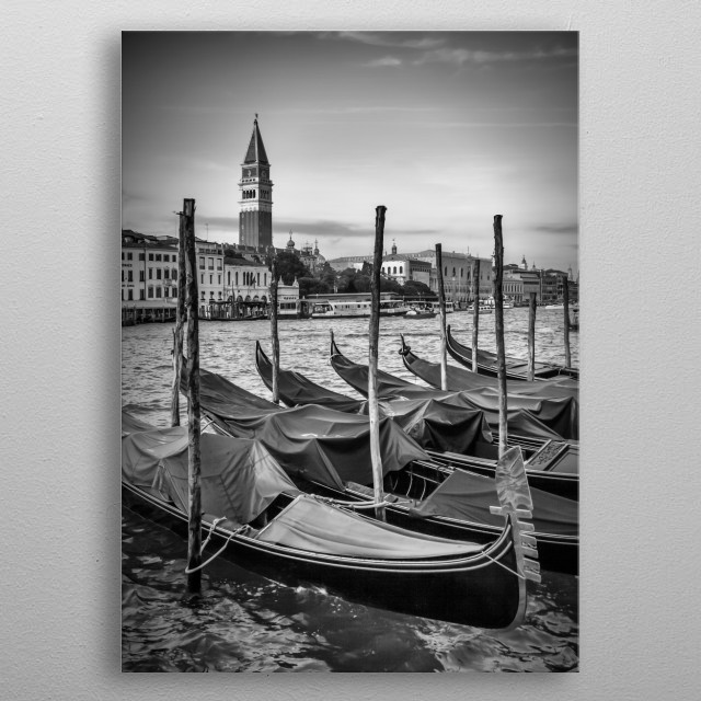 Gorgeous view over Grand Canal to St Mark's Campanile! Gondolas are waiting for a ride. Nice and decorative black and white image of Venice. metal poster