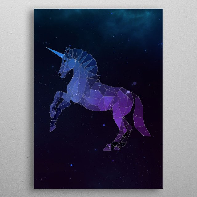 Galaxy unicorn is a combination of low poly and double exposure art of an animal and galaxy image. metal poster