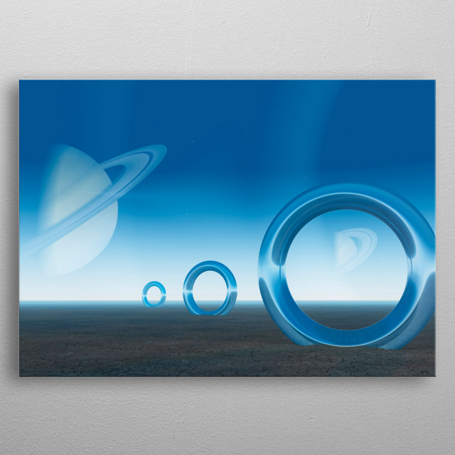 Planets with planetary belts. Shining rings on the planet surface metal poster