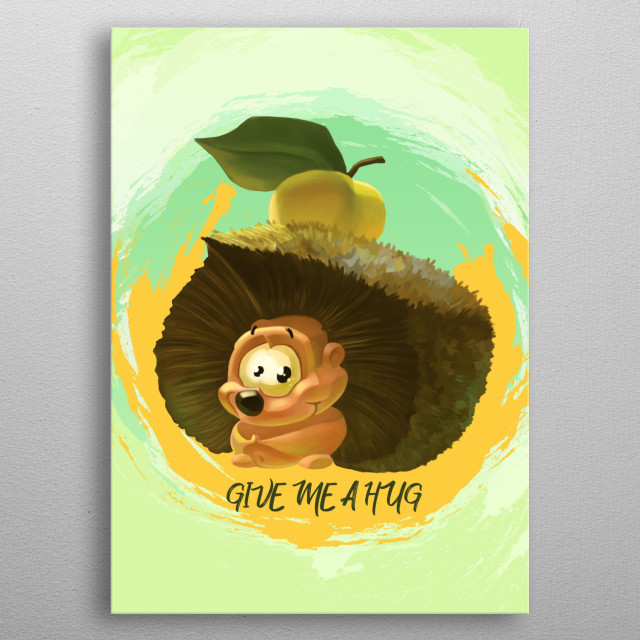 Cute hedgehog with an apple on back metal poster