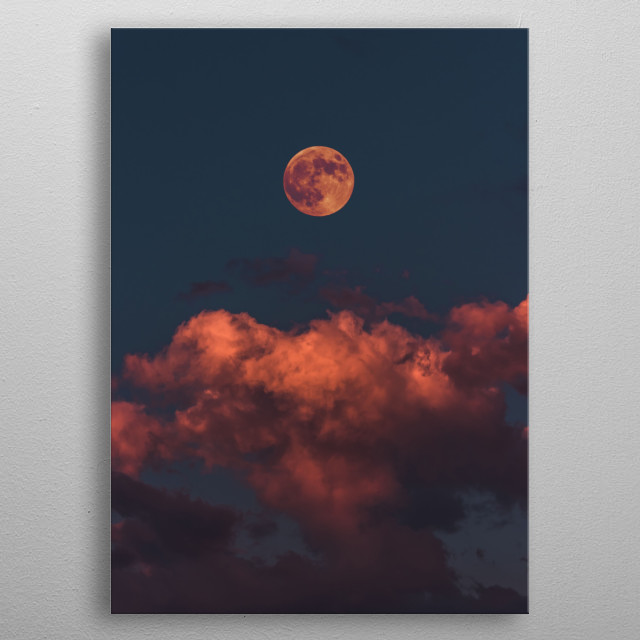 The sunset casting a red glare over the moon and the clouds. metal poster
