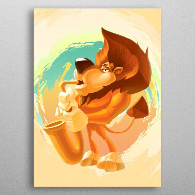 Cute lion singing on saxophone metal poster